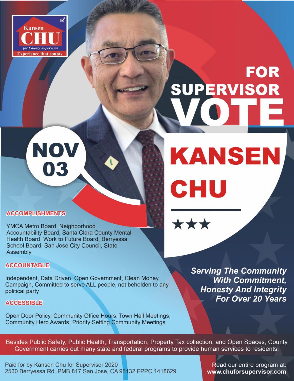 VOTE FOR KANSEN CHU FOR SUPERVISOR ON NOVEMBER, 3, 2020